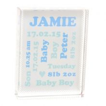 Commemorative New Baby Crystal on Frosted Background - Personalised Newborn or Christening Keepsake Gift